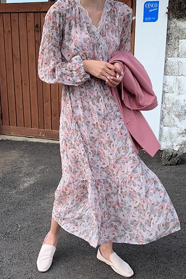 베리굿데이 플라워브이넥 레이스 여성 봄원피스 (레드플라워,핑크,그린플라워)