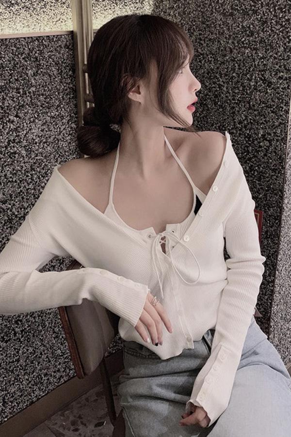 섹시스포티 아일렛 블랙포인 홀터브라탑+ 단추골지 심플가디건세트SET