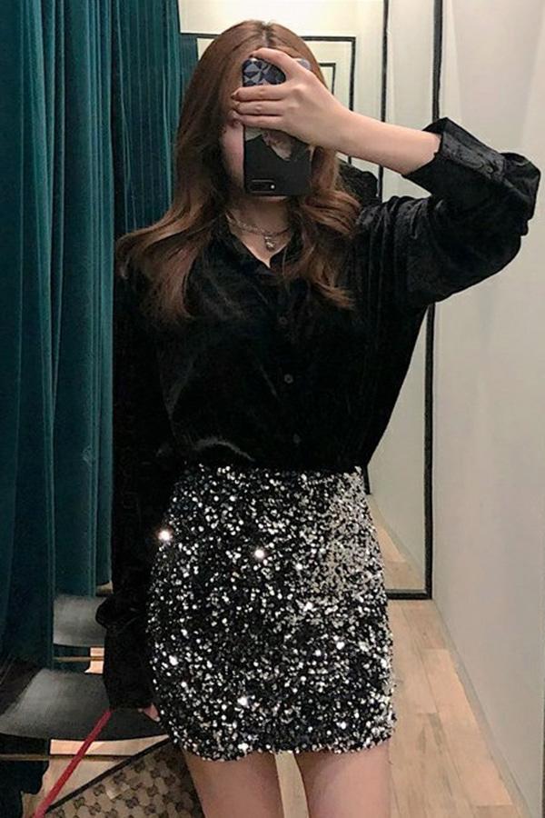 화려한룩 시크박시 벨벳셔츠+스팽글스커트 투피스세트SET