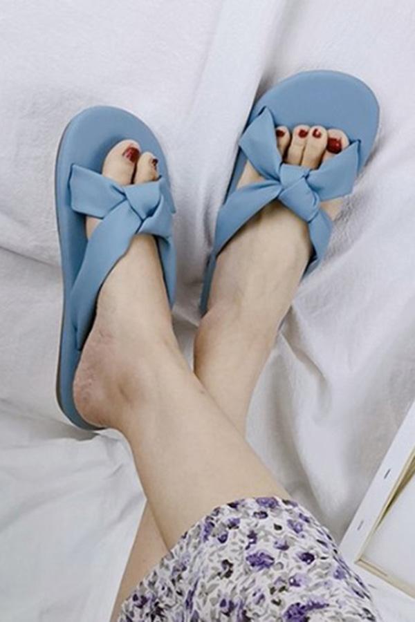 차밍 매듭포인 크로스 봄색감 슬리퍼 (아이보리,옐로우,블루)