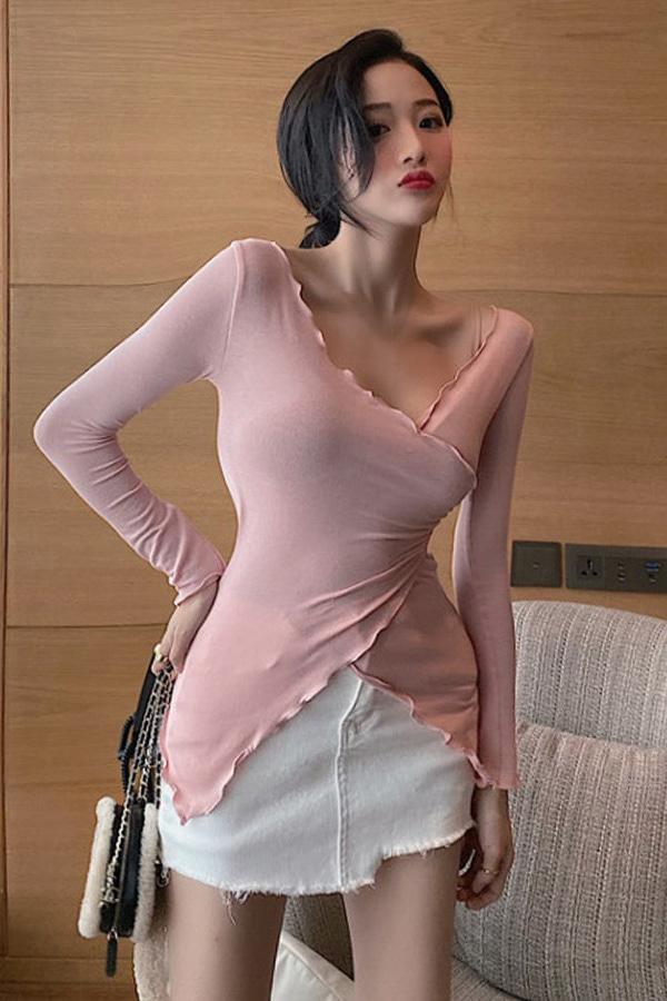 섹시 브이랩 얇은 긴팔 언발티셔츠 (핑크,화이트)