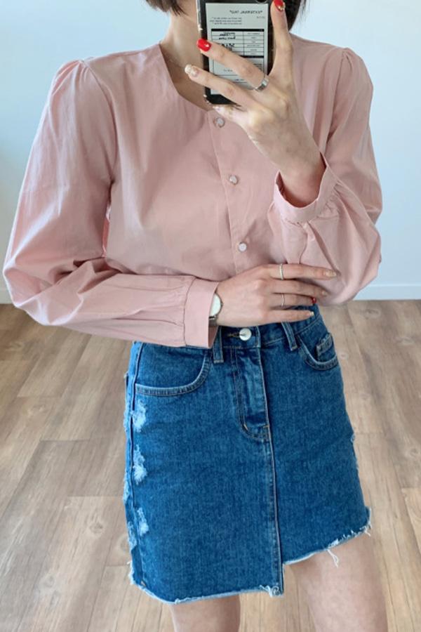 [당일배송] 핵서건진주단추 러블리 하객룩 단정룩 여성블라우스 (아이보리,핑크)