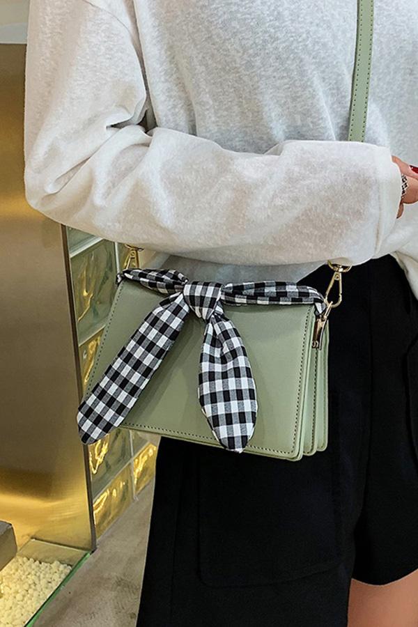 체크체크 리본매듭 사각 핸디 크로스백 (블랙,아이보리화이트,말차그린,옐로우)