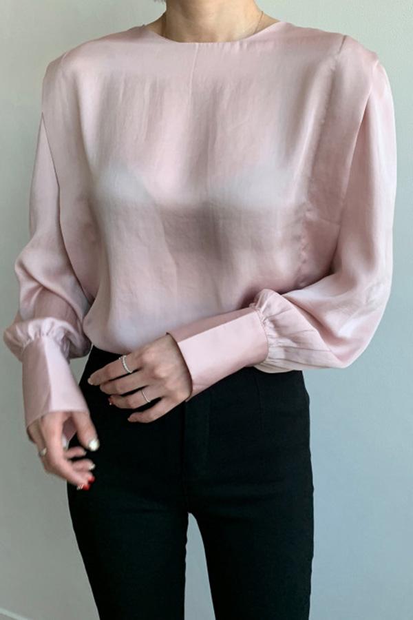 [당일배송] 사각스퀘어 샤틴 소매퍼프 하객룩 오피스룩 여성 블라우스 (아이보리,청색,핑크,회색)