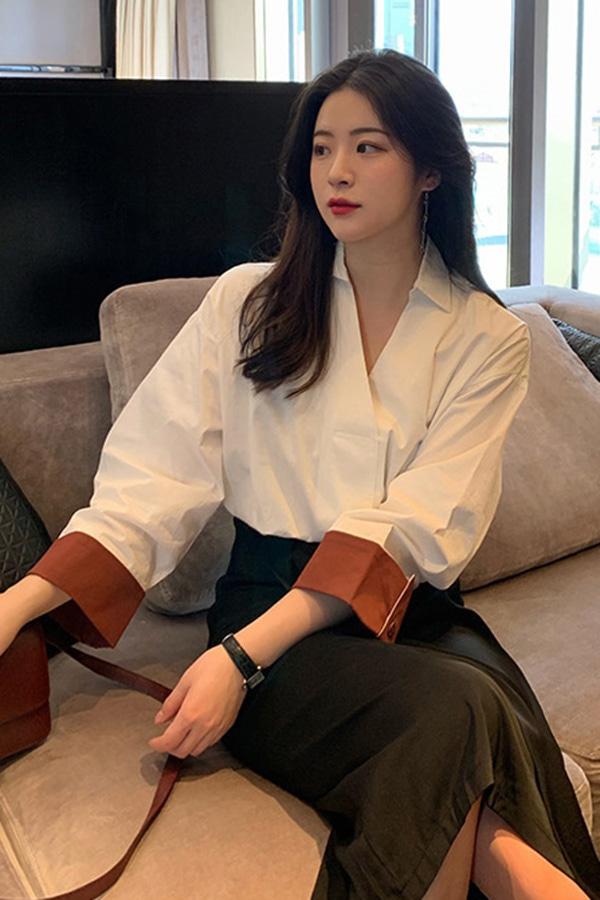 스프링브이넥카라 소매배색 여성 단정룩 하객룩 남방셔츠 (화이트,블루,살구)