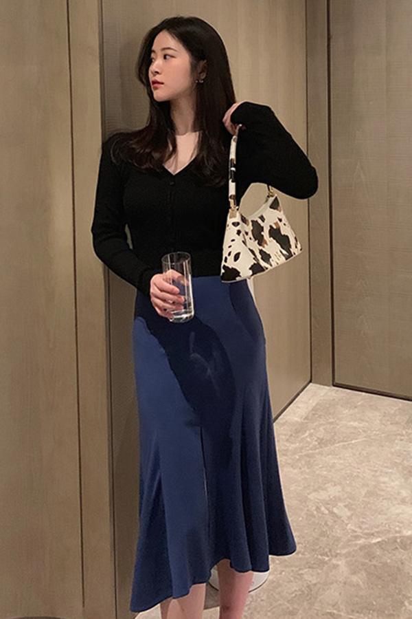 밑단프릴앞트임 여성 심플리 오피스룩 스커트 (블루,그레이)