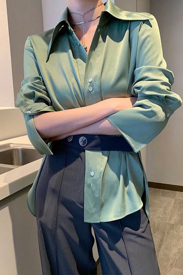 트렌디 베이직 결혼식하객룩 와이드카라 클래식 새팅 셔츠 (민트그린,라벤더핑크)