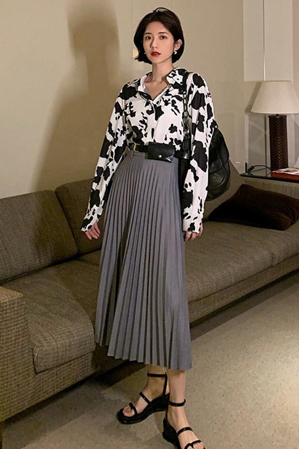 잉크 베이직 캐주얼 유니크데일리룩 오버핏 얼룩잉크포인트 셔츠 (블랙,브라운)