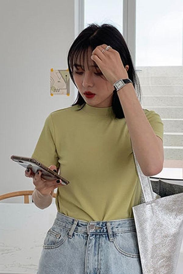 쫀쫀텐션감 반하이넥 베이직 여성 탑 (5color)