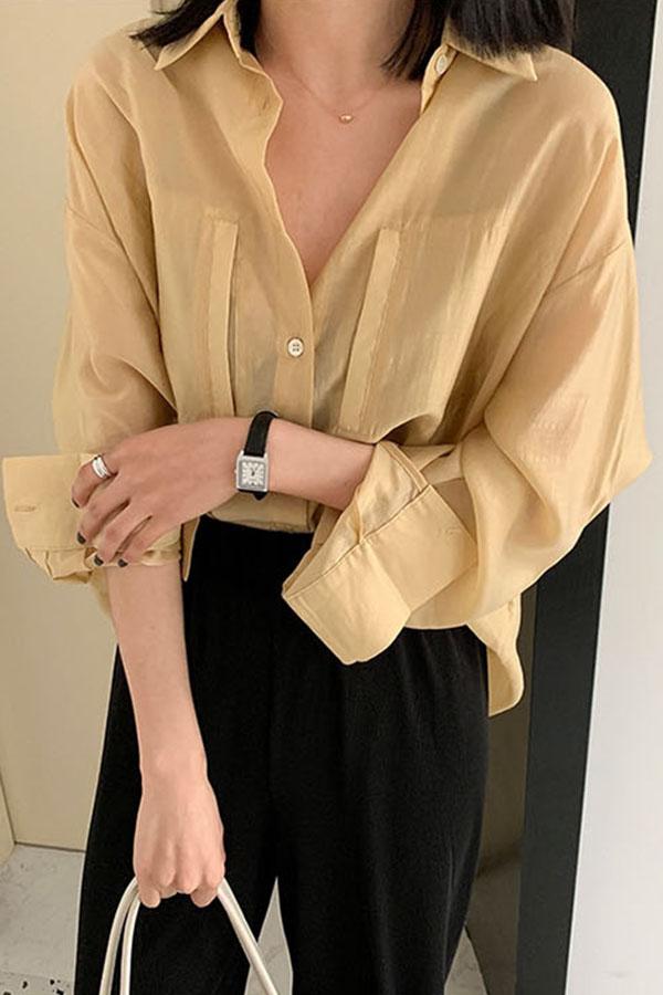 로시 독특 포켓포인 시스루 오버핏 셔츠 (옐로우,딥그레이,로즈핑크)