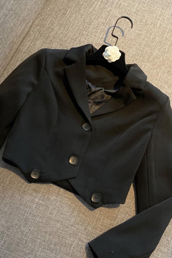 메모리즈숏 크롭 여성카라버튼자켓 (블랙)