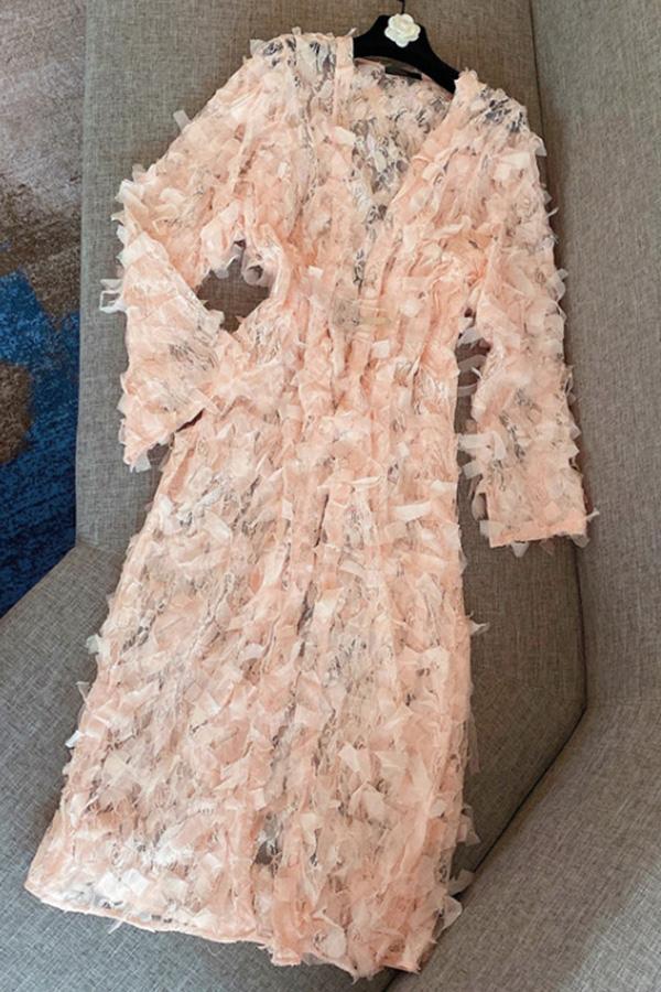 그래비티러플 벨티드 페미닌 여성롱원피스 (화이트,블랙,핑크)