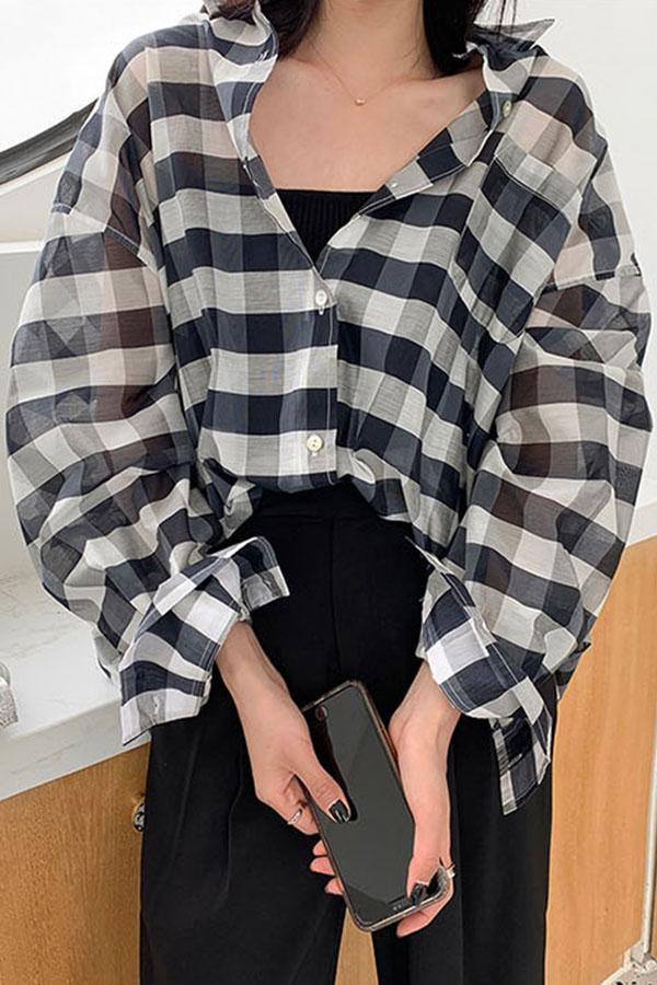 빅체크 활용성굿 시스루 오버핏 셔츠