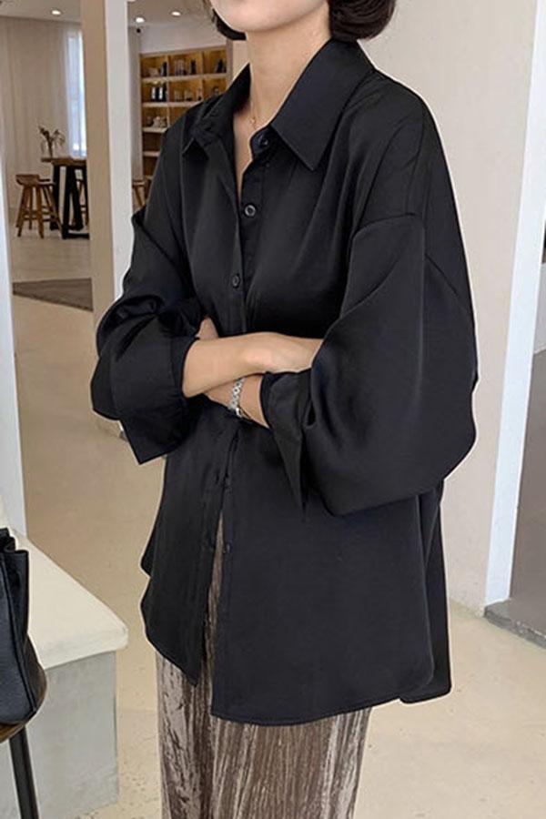 심플 베이직 시크러블리 실키 오버핏 셔츠 (블루,블랙)